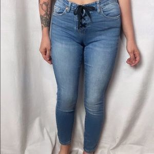 BLANK NYC HIGH WAISTED RETRO LACE UP SKINNY JEANS